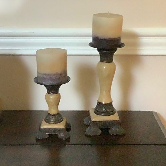 Other - Two tiered Candlesticks with Matching Candles